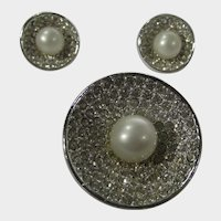 Classic Pin and Clip On Earring Matching Silver Tone With Clear Pave Crystals and Faux Pearl Centers