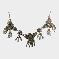 Vintage Goldtone Necklace With Dangling Crystals Enhancing Each Pendant