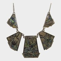 Goldtone Abalone Necklace in Contemporary Style