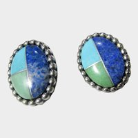 Carolyn Pollack Sterling Silver Pierced Earrings With Inlaid Stones