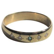 14 Karat Yellow Gold Band With Tiny Diamonds and 1 Tiny Emerald