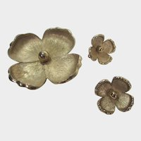 Vintage Brushed Goldtone Flower Pin and Matching Flower Clip On Earrings