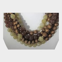 Chico's Statement Necklace With Five Strands of Beads In Natural Tones
