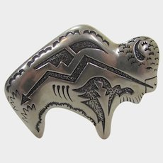 Tommy Singer For Carolyn Pollack Relios Sterling Silver Buffalo Pin Pendant