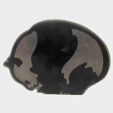 Sterling Silver Mexican EFS Enamelled Panda Pin