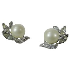 Richelieu Clip On Earrings In Silver Tone With Faux Pear and a Variety of Clear Crystals
