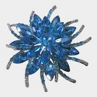 Sparkly Turquoise Crystal Flower Pin