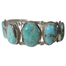 Native American Navajo Artist Johnny Johnson Sterling Silver Turquoise Bracelet