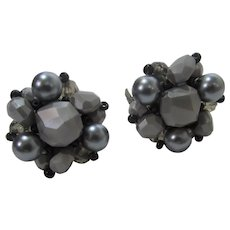 Vintage Clip On Silver Tone Beads Signed Germany