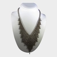 Vintage Bronze Tone Mesh Necklace Enhanced with Sparkling Crystals