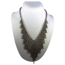 Vintage Bronze Tone Mesh Necklace Enhanced with Sparkling Crystals
