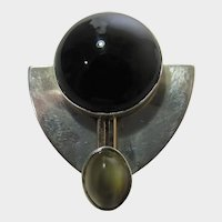 Sterling Silver Pin or Pendant With Onyx and Moonstone