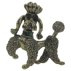 Vintage Goldtone Poodle Pin with Green Color and Eyes