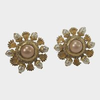 St. John Goldtone Clip On Earrings with Faux Baroque Pearls