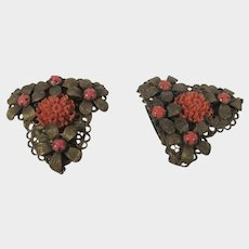 Vintage 1940's Goldtone Dress Clips With Faux Coral Insets