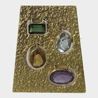 18 Karat Yellow Gold Pin or Pendant Featuring Swinging Gems of Topaz, Amethyst, Citrine and Tourmaline