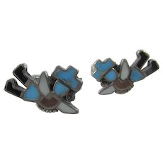 Native American Sterling Silver Cufflinks With Inlaid Stones In Rainbow Man Design