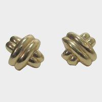 12 Karat Yellow Gold Earrings With 14 Karat Backs for Pierced Ears