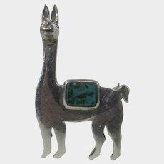 Sterling Silver Llama Pin with Malachite Saddle