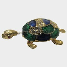 Tremblant Enamelled Sea Turtle Pin in Green and Blue with Pave Crystals