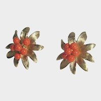 Vintage Kramer Goldtone Clip On Flower Earrings with Bright Faux Coral Centers