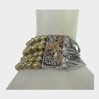 Sterling Silver Reversible Stretch Bracelet With Freshwater Pearls and 14 Sterling Chains