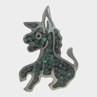 Sterling Silver Mexican Donkey Pin with Inlaid Malachite