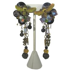 Lisa Carlson Spectacular Bee Collage Clip On Earrings