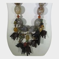 Big Boho Necklace With Polished Agate and Carved Wooden Elephant Charms