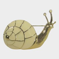 Trifari Goldtone Enamelled Snail Pin