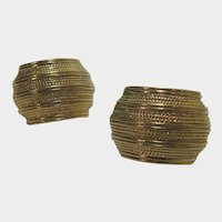 Vintage Napier Goldtone Clip On Earrings With Adjustable Closures for Comfort
