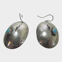 Native American Sterling Silver Turquoise  Cabochon Kokopelli Earrings for Pierced Ears