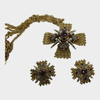 Art Maltese Cross Necklace and Matching Clip On Earring Set
