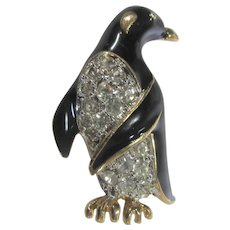 Tuxedo Penguin Pin in Goldtone, Black Enamel and Rhinestone Accent