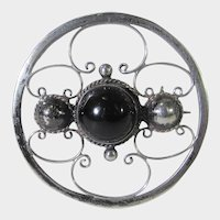 Sterling Silver Circle Pin With Onyx Center
