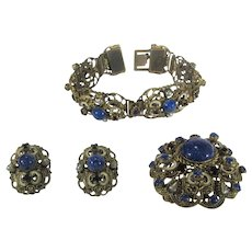 Vintage Three Piece Enamelled Set With Bracelet, Pin and Earrings in Faux Lapis Lazuli and Crystal Enhancements