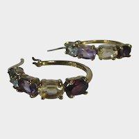 Sterling Silver Gemstone Hoop Pierced Earrings