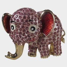 Pink Elephant Pave Crystals and Enamelled Ears