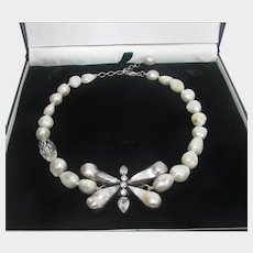 Sterling Silver Freshwater Baroque Pearl Necklace With Center Dragonfly Focal