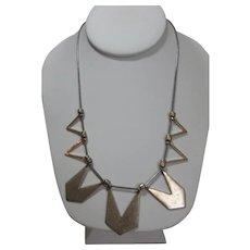 Vintage Goldtone Modernist Necklace With Seven Sliding Pendants