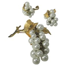 Boucher Goldtone Pin and Faux Pearl Pin and Matching Clip On Earrings