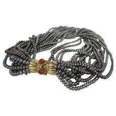 Francesca Romana Freshwater Pearls Multi Strand Necklace With Bejewelled Magnetic Clasp