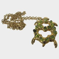 Caro Tortolani Goldtone Turtle Necklace With Light Green Crystals