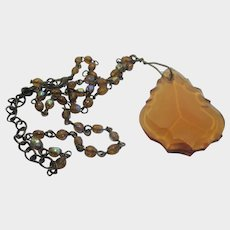Vintage Necklace With Carved Amber Color Crystal Drop