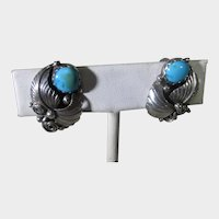 Native American Navajo Sterling Silver Clip On Earrings With Turquoise Cabochons