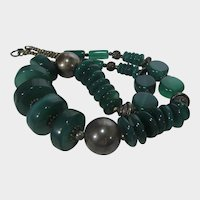 Vintage Chalcedony Beads With Sterling Silver Findings Necklace