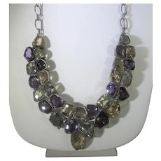 Sterling Silver Gemstone Necklace Including Amethyst, Peridot, Citrine and Topaz