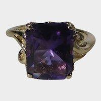 14 Karat Yellow Gold Ring With Rich Purple Amethyst