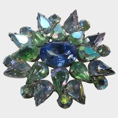Julianna Pin With Green and Blue Crystals