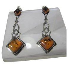 Sterling Silver Amber Earrings for Pierced Ears